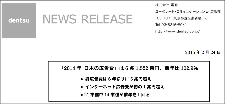 電通 日本の広告費2014